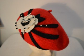Red, Black & White Beret
