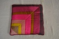 Silk cushion (burgundy mix patchwork)