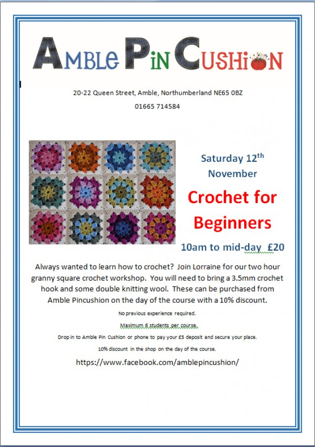 Crochet for beginners - new Saturday workshop announced
