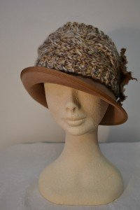 cable Knitted hat and headwarmer band with rosette, in camel mix