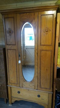 Edwardian oak mirrored wardrobe