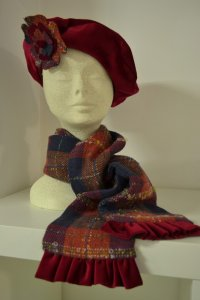Red tartan and velvet scarf
