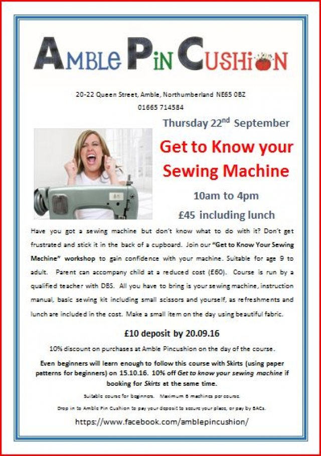 Get to know your sewing machine workshop