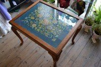 Occasional table with tapestry top