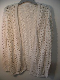 Crocheted off-white edge to edge cardigan