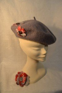 Grey beret with hand felted floral trim