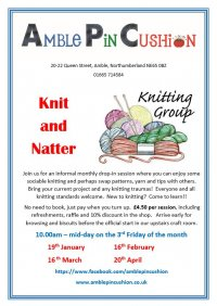 Knit and Natter at Amble Pin Cushion