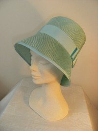 Aquamarine straw cloche