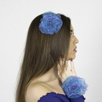 Turquoise and purple beaded fascinator