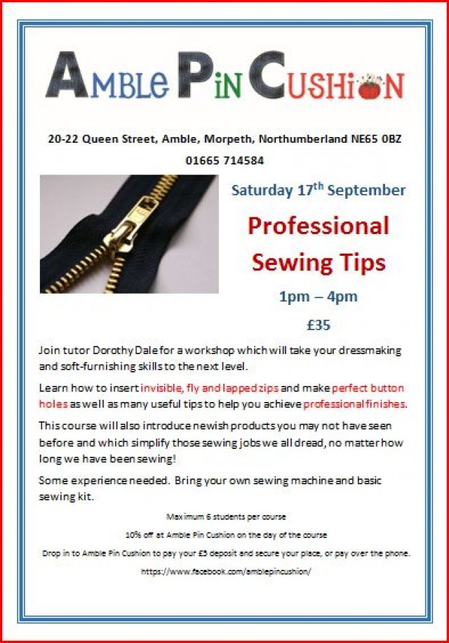 Professional Sewing Tips Workshop