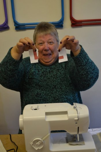 Val lets rip on her sewing machine L plate!