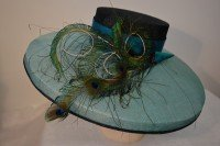 Turquoise and Navy Picture Hat
