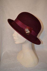 Burgundy Wool Felt Cloche