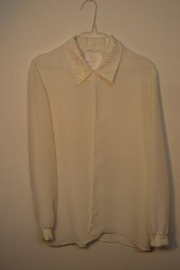 Evening blouse with sparkle collar