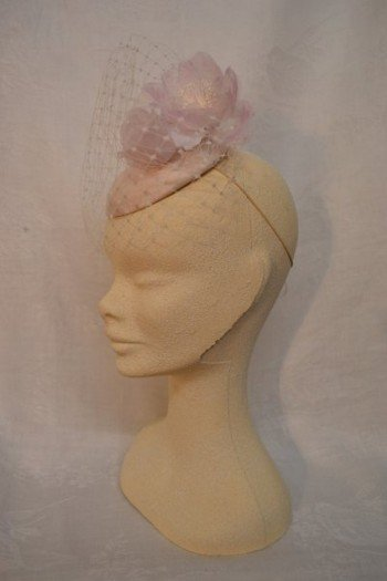 Cream Silk Fascinator with Veil and Pink Rose