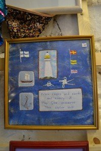 Nautical embroidered framed picture