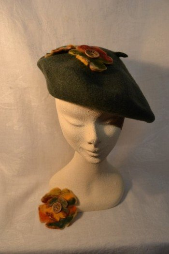 Sage green beret with hand felted floral trim