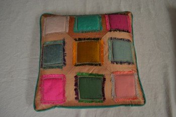 Silk cushion (terracotta patchwork)