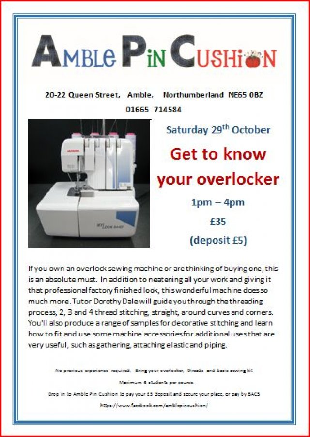 Get to know your overlocker course