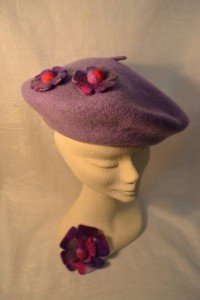 Lilac beret with hand felted floral trim