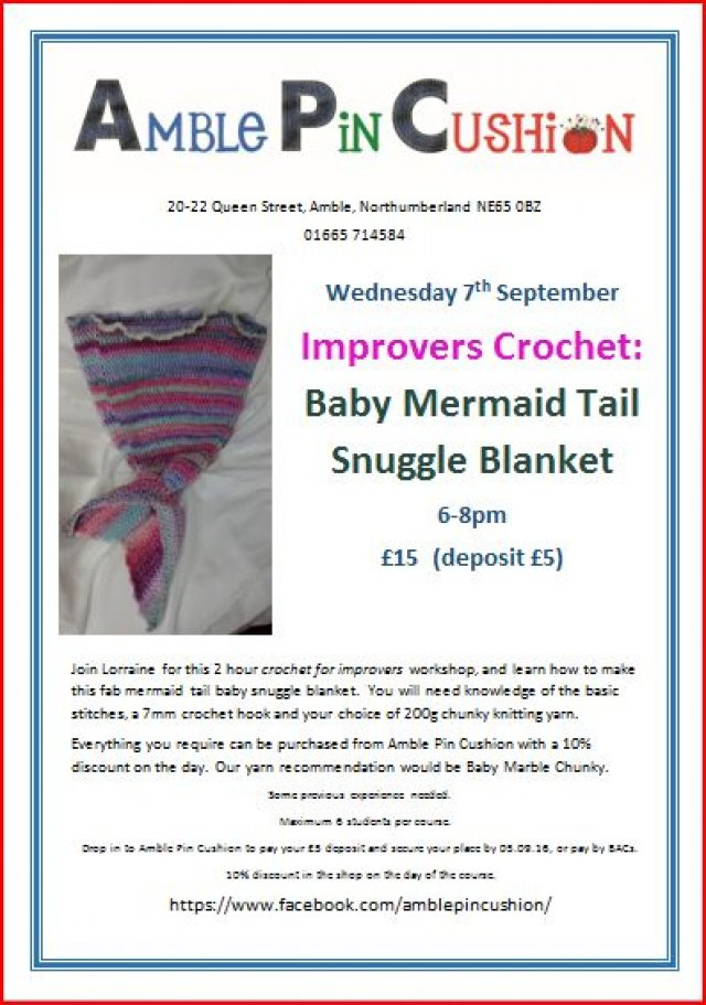Baby mermaid tail improver's crochet workshop