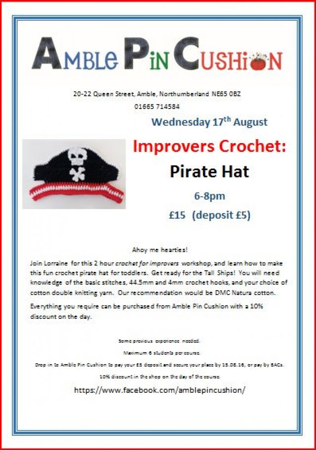 Pirate hat improvers crochet workshop